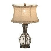 Bubble Glass Lamp With Linen Ruffle Shade Thumbnail