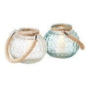 Circle Glass Votive Holder with Rope Handle Thumbnail