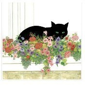 Black Cat Flower Box Beverage Napkins Thumbnail