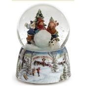 Kids with Rolling Snowball Musical Globe Thumbnail