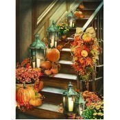 Lighted Harvest Stairway Canvas Thumbnail