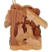 Olive Wood Small Nativity Ornament Thumbnail