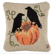 Ravens and Pumpkins Pillow Thumbnail