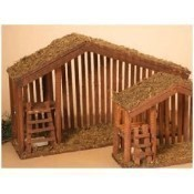 Lighted Wood Nativity Stable with Moss, Large Thumbnail