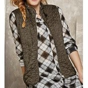 Zip Front Quilted Vest - Dark Leaf Thumbnail