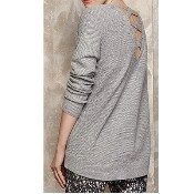 Long Sleeve Lace Up Sweater - Gray Thumbnail