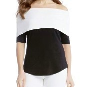 Colorblock Off The Shoulder Top - Black/White Thumbnail