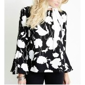 Crop Flare Sleeve Top - Black/Off White Thumbnail