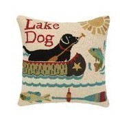 Lake Dog Hook Pillow Thumbnail
