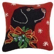 Black Lab with Holly Ribbon Pillow Thumbnail