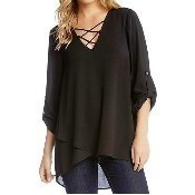 Criss Cross Wrap Top - Black Thumbnail