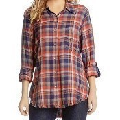 Fringe Button Up Shirt - Plaid Thumbnail