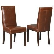 Classic Highback Dining Chair - Brown Leather Thumbnail