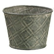 Tin Bucket with Liner - Gray Thumbnail