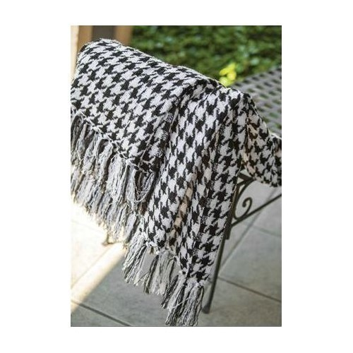 Houndstooth Black/White Outdoor Throw Thumbnail