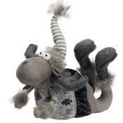 Gray Fabric with Faux Fur Groveling Moose  Thumbnail