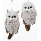 Brown and White Hanging Owl Ornament Thumbnail