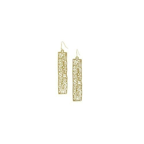 Gold Rectangle Leaf Pattern Earrings Thumbnail
