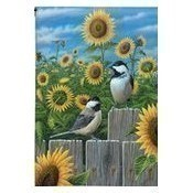 Chickadees and Sunflowers Garden Flag Thumbnail