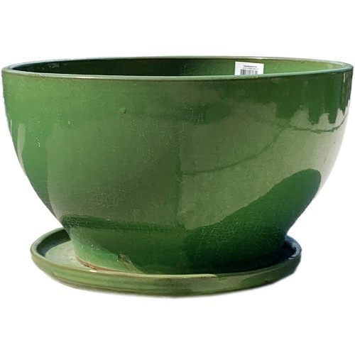 Low Bowl Planter Set with Saucer - Lime Green Thumbnail