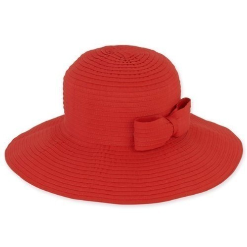 Foldable Hat with Bow Trim - Red Thumbnail