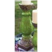 Pillar Candle Holder - Large - Green Ceramic  Thumbnail