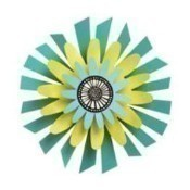 Citron Flower on Teal Petal Kinetic Sculpture Thumbnail