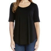 Short Sleeve Shirttail Top - Black Thumbnail