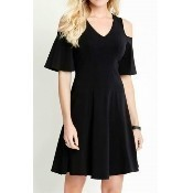 Cold Shoulder Travel Dress - Black Thumbnail