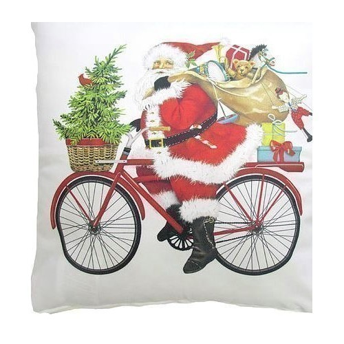 Santa on Bike Pillow Thumbnail