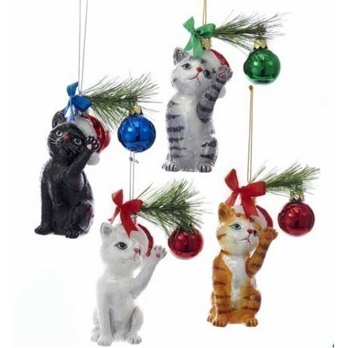 Noble Gem Glass Christmas Cat Ornament Thumbnail