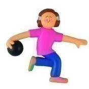 Brunette Female Bowler Ornament Thumbnail
