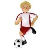 Blonde Male Soccer Dribbler Ornament/Red Thumbnail