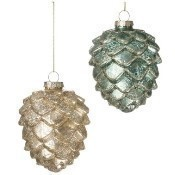 Blue or Gold Cone Ornament 3.5