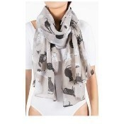 Cats Scarf - Taupe Thumbnail