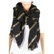 Chevron Stripes Scarf - Metallic Black Thumbnail