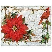 Holiday Cardina with Poinsettia Pillow Thumbnail