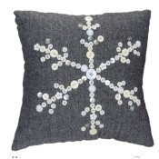 Woven Fabric Pillow with Button Snowflake Thumbnail