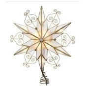 Capiz Star with Scroll Design Lighted Treetop Thumbnail