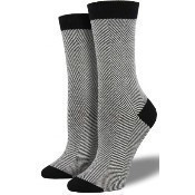 Bamboo Herringbone Socks - White Thumbnail