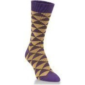 Diamond Crew Socks - Purple/Gold Thumbnail