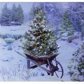 Lighted Garden in Winter Canvas Thumbnail