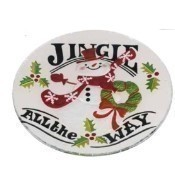Fused Glass Jingle Snowman Platter  Thumbnail