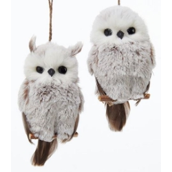 Christmas Owl.Brown And White Hanging Owl Ornament