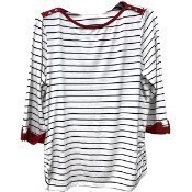 Boatneck Striped Top - Navy Thumbnail