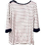 Boatneck Striped Top - Red Thumbnail