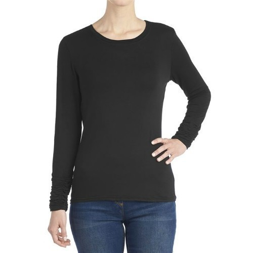Scrunch Sleeve Tee - Black - Large Thumbnail