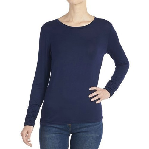 Scrunch Sleeve Tee - Navy - Large Thumbnail