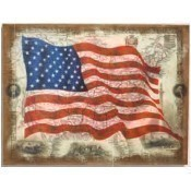 American Flag on Wood Frame Wall Hanging Thumbnail