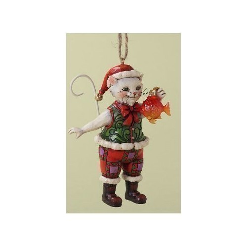 Christmas Cat with Fish Ornament Thumbnail